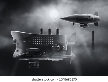 Vintage airship Zeppelin in the sky. Dirigible balloon. 3d illustration