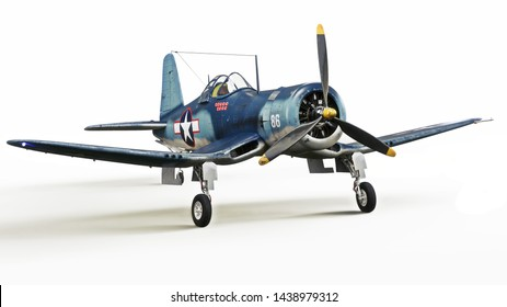 Vintage allied F4u Pacific theater fighter plane on a white isolated background. 3d rendering