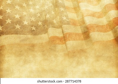 Vintage American Background with Canvas American Flag.