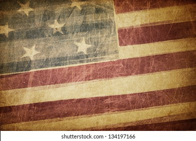 Vintage american flag grunge background