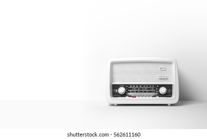 Vintage antique retro old radio on background 3D illustration
