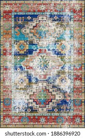 Vintage Arabic golden pattern. Rich Persian colored carpet. Ornament for fabric design, handmade, interior decoration, textiles