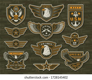 Vintage armed forces insignias and badges of different shapes with eagles stars anchor crossed sniper rifles on military weapons background isolated illustration
