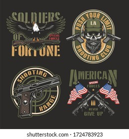 Vintage army colorful labels with eagle holding firearm soldier skull in special forces cap pistols gun sight crossed sniper rifles and USA flags isolated illustration