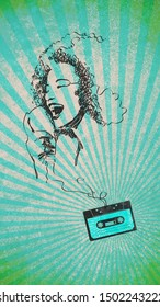 Vintage audio cassette and portrait of woman singing made with tape, music and art concept
