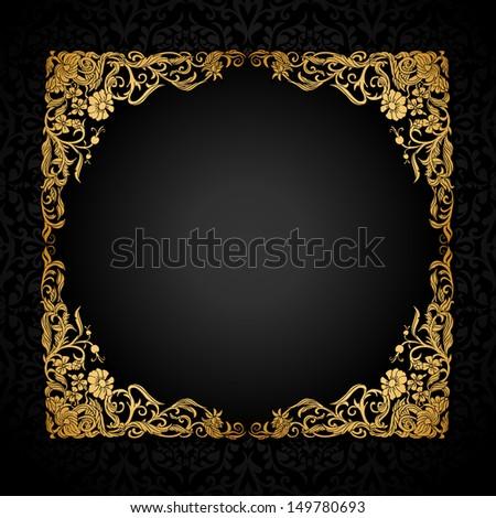 5cacdac663b0 Vintage Background Antique Luxury Black Gold Stock Illustration ...
