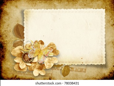 Vintage background with card and paper flowers
