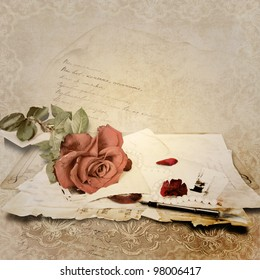 Vintage  background with card and roses for congratulations and invitations