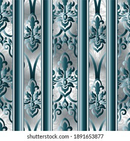 Vintage background with damask pattern in retro style. Seamless designer floral pattern. blue color