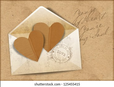 Vintage background with envelope and hearts