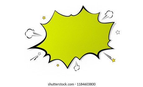 Vintage background with pop art splash. Cloud of explosion in comics book style, blank layout template with halftone dots. Isolated dots pattern on white backdrop