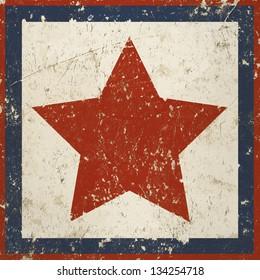 Vintage background with red star, grunge texture