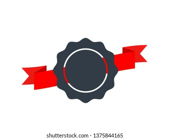 Vintage badge with red tape isolated on white