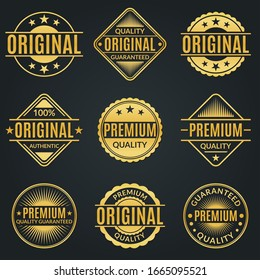Vintage badge and retro logo set. Original, Premium quality and Guarantee stamp, seal and label collection.