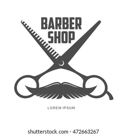vintage barber shop logo, label, badge and design element, illustration isolated on white background. Combs, moustache and scissors logo for barbershops, beauty salons, hairdressers