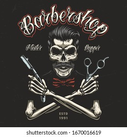 Vintage barbershop colorful badge with skeleton hands holding barber tools and skull with trendy hairstyle and mustache isolated illustration