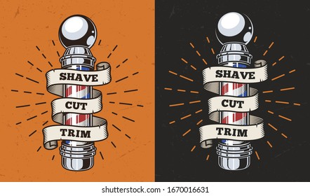 Vintage barbershop colorful label with striped barber pole and ribbon around it isolated  illustration
