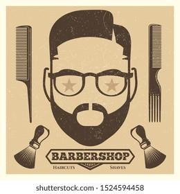 Vintage barbershop poster template. Fashion hipster print