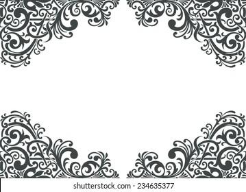 vintage baroque border frame card cover background engraving filigree flower motif arabic retro floral pattern ornate