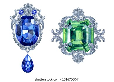 Vintage baroque brooches with precious stones, watercolor painting on a white background, isolated with clipping path. Women's jewelry with sapphire and emerald.