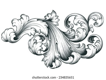 vintage baroque engraving floral scroll filigree design frame border acanthus pattern element