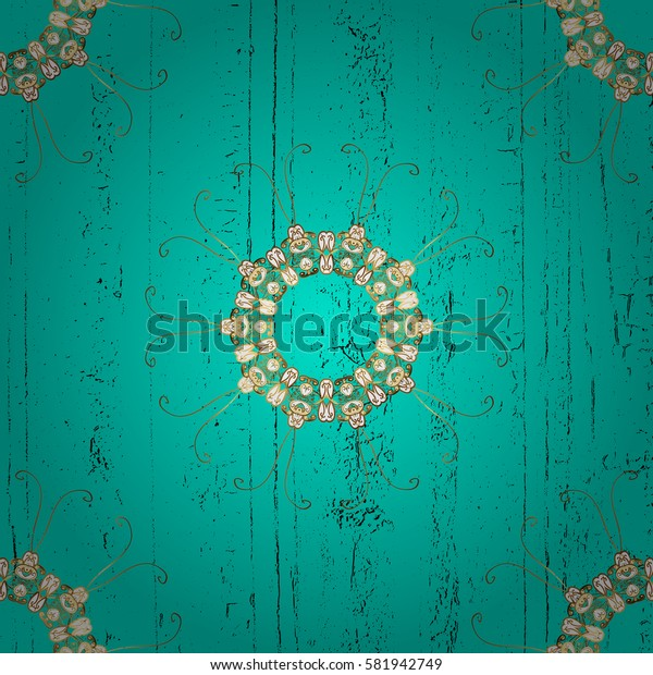 Vintage baroque floral pattern in gold over blue. Golden element on blue background. Ornate decoration. Luxury, royal and Victorian concept.