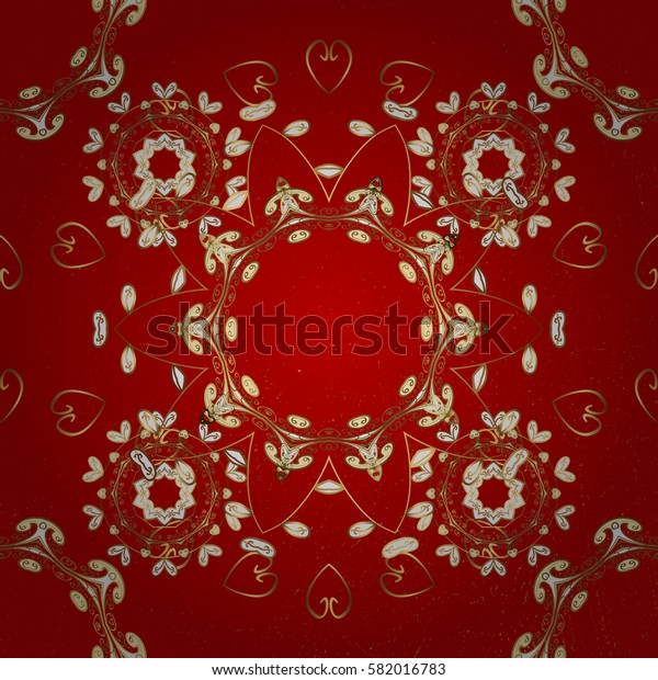 Vintage baroque floral pattern in gold over red. Ornate decoration. Luxury, royal and Victorian concept. Golden element on red background.