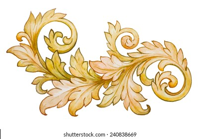 Vintage baroque floral scroll foliage ornament watercolor golden retro style design element