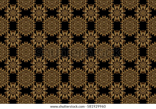 Vintage baroque floral seamless pattern in gold over black. Luxury, royal and Victorian concept. Golden elements isolated on black background. Ornate raster decoration.