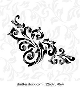 Vintage baroque frame scroll ornament engraving border floral retro pattern antique style acanthus foliage swirl decorative design element filigree calligraphy.