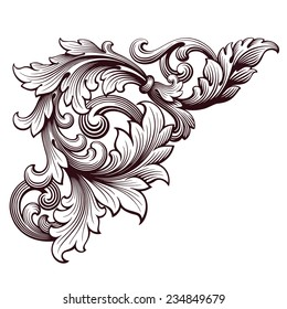 vintage Baroque scroll design frame corner pattern element engraving retro style ornament