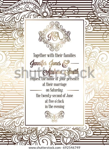Vintage Baroque Style Wedding Invitation Card Ilustracje