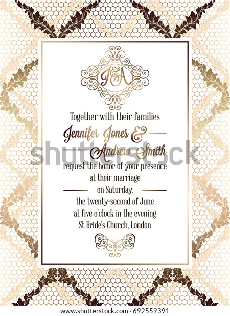 Vintage baroque style wedding invitation card template.. Elegant formal design with damask background, traditional decoration for wedding
