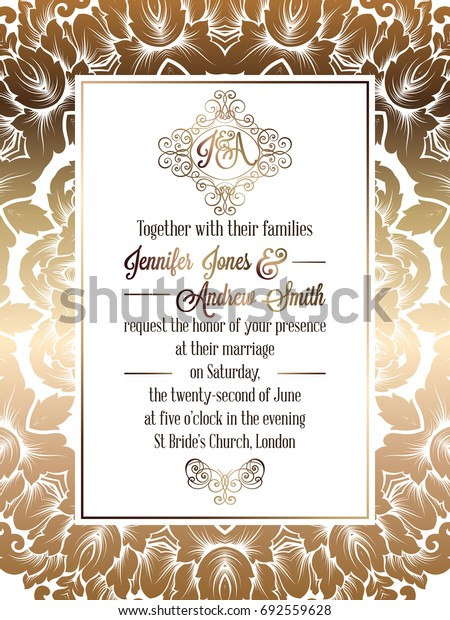 Vintage baroque style wedding invitation card template.. Elegant formal design with damask background, traditional decoration for wedding