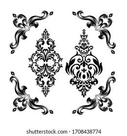 Vintage Baroque Victorian frame border corner monogram floral ornament leaf scroll engraved retro flower pattern decorative design tattoo black and white filigree calligraphic