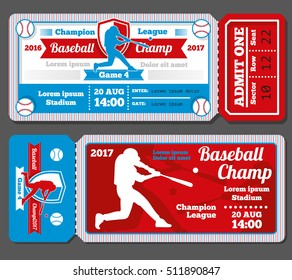 Vintage baseball, sports tickets set. Baseball ticket and banner sport ticket game illustration