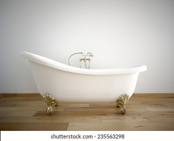 Vintage bath tube in a room with a color wall. 3d rendering