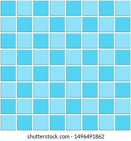 Vintage Bathroom Aqua Blue Tiled Mosaic Seamless Pattern.