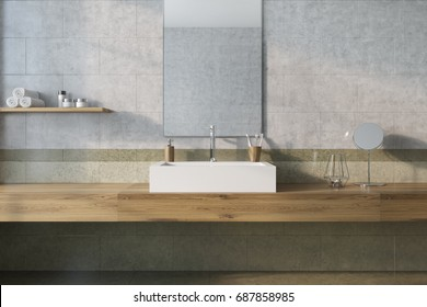 Vintage bathroom interior with a white sink, a wooden shelf and a marble wall with a mirror. Concept of luxury and wealth. 3d rendering