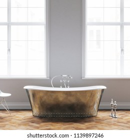 Vintage bathtub in classic white interior with wooden floor 3D render