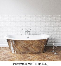 Vintage bathtub in classic white interior close up 3D render