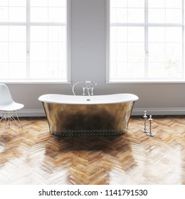 Vintage bathtub in classic white interior with wooden floor and candlesticks closeup 3D render