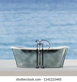 Vintage bathtub with ocean background 3D render