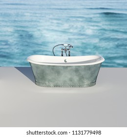 Vintage bathtub on white floor with ocean background 3D render