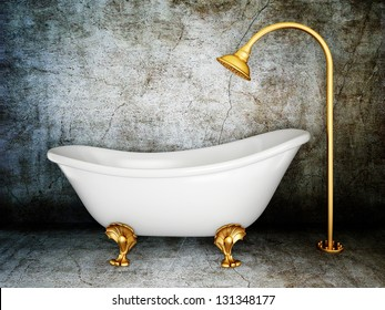 vintage bathtub in room with grunge wall