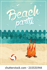 Vintage beach party poster design