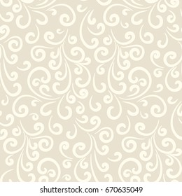 Vintage beige floral ornament with simple swirls, elegant seamless pattern in neutral color, raster illustration
