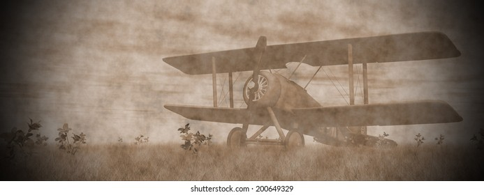 Vintage biplane standing on the green grass with flowers by pink sunset
