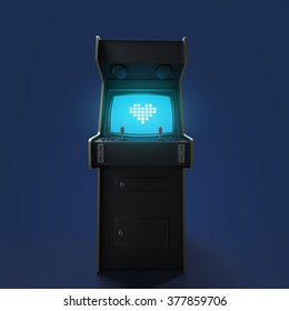 A vintage black arcade game machine cabinet with pixel heart icon colorful controllers and a screen isolated. love, gaming, vintage, win, couple metaphor. high quality 3d rendering.