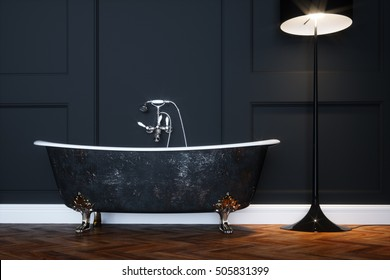 Vintage black bathtub with silver legs in antique interior with classic architecture elements 3D render version 1